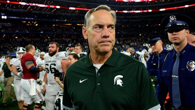 Head coach Mark Dantonio after a 38-0 loss in the 80th Annual Cotton Bowl Classic Thursday, December 30, 2015 in Arlington, Texas.