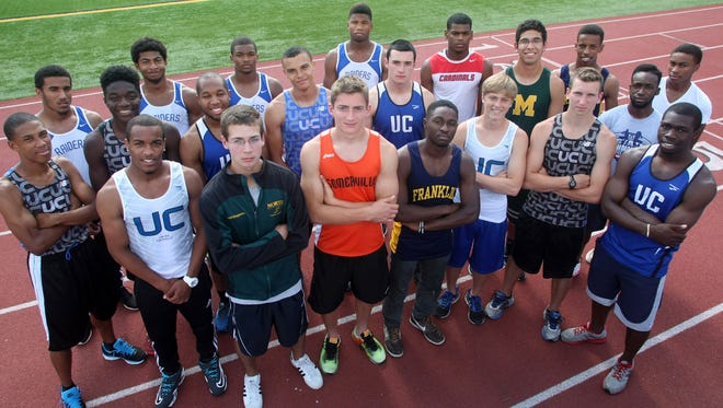 Courier news all-area track (Front row, L to R) Serge Gilbert of Union Catholic, Dave Mugavero of North Hunterdon, Collin Litts of Somerville, Anfernee Joseph of Franklin, Brian Sagendorf of Union Catholic, Andrew Ghizzone of Union Catholic, Javon Pittman of Franklin and Obafemi Animashaun of Union Catholic (second row L to R) Kenny Everly of Union Catholic, Steve Franco of Union Catholic, Jordan Jimerson of Union Catholic, Taylor McLaughlin of Union Catholic, Sean Brennan of Union Catholic, Jaleel Simmons of Plainfield, Vlad Castillo of Montgomery, Ross Clarke of Franklin, and Nate Gravesande of Franklin, (back row L to R) Merlin Edmond, Kobe White, Emendo Thomas and Quayree Bull all of Scotch Plains-Fanwood, Tuesday, June 17, 2014, in Scotch Plains, NJ.  Photo by Jason Towlen
