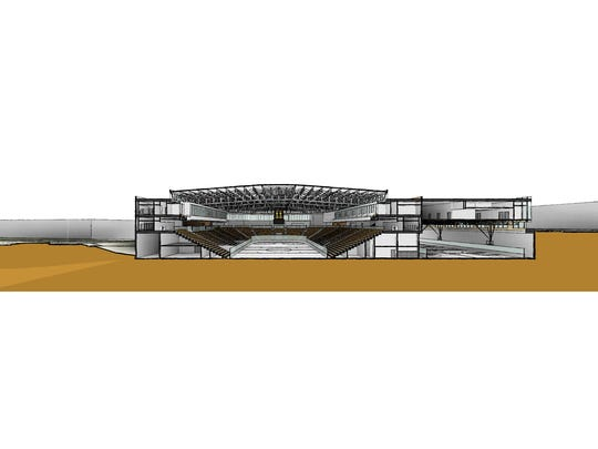 An early artist's rendering of the proposed arena and sports clinic on Coralville's Iowa River Landing, viewed from the north.