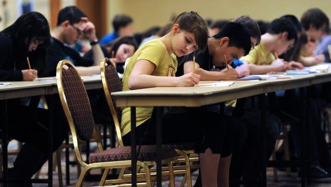 High school students in Fairbanks, Alaska, take a science test in February.