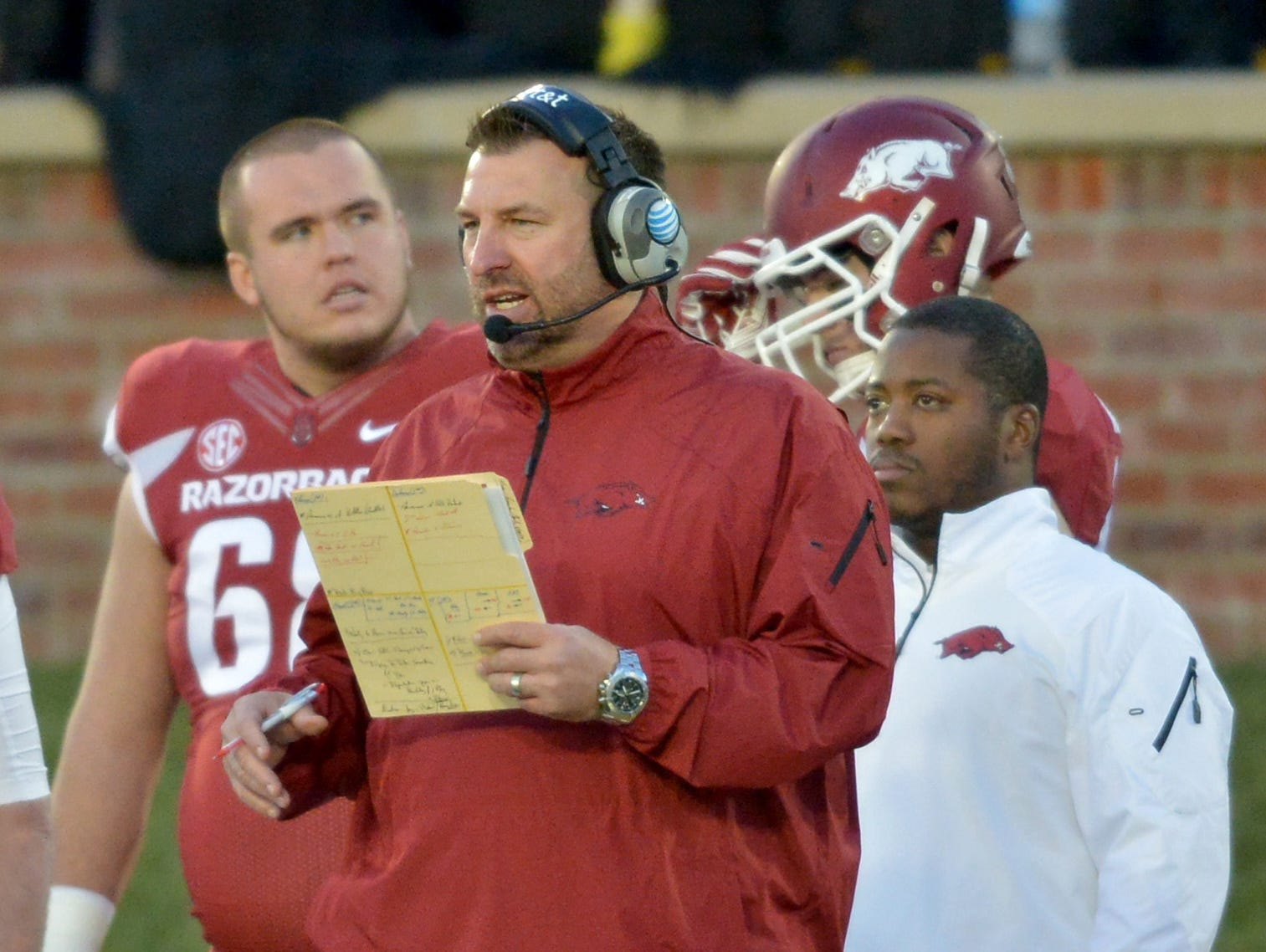 Arkansas Razorbacks head coach Bret Bielema watches play on the sidelines during the second half against the Missouri Tigers at Faurot Field.