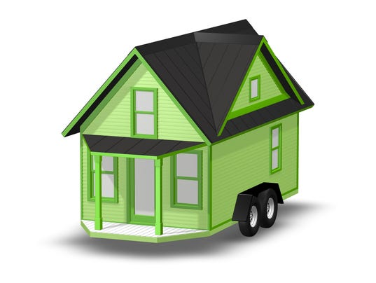 3D Rendered Illustration of a tiny home over white.