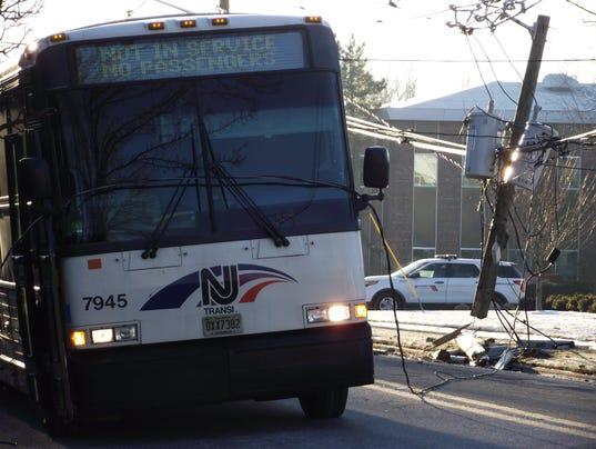 Midland Park Car Crash Downs Wires Puts Nj Transit Bus