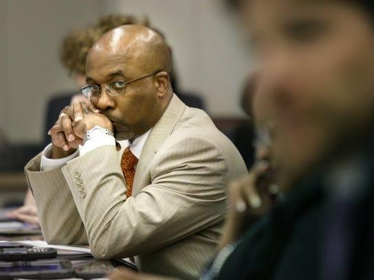Memphis City Council member Martavius Jones listens