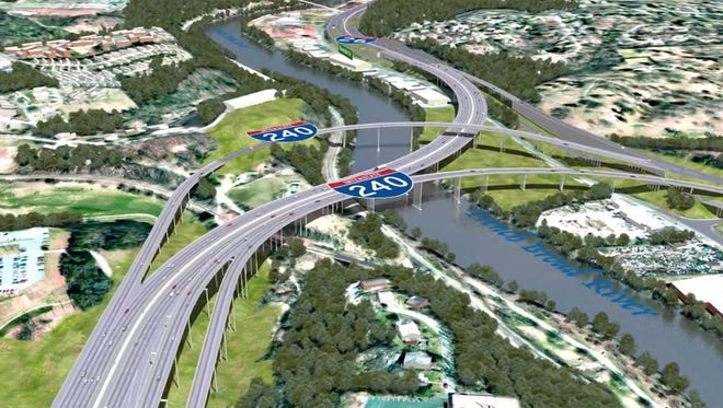 The route selected for the Interstate 26 Connector will take much of the traffic off the Bowen Bridge just west of downtown Asheville. Building tunnels instead of a bridge would be prohibitively expensive, the DOT says.