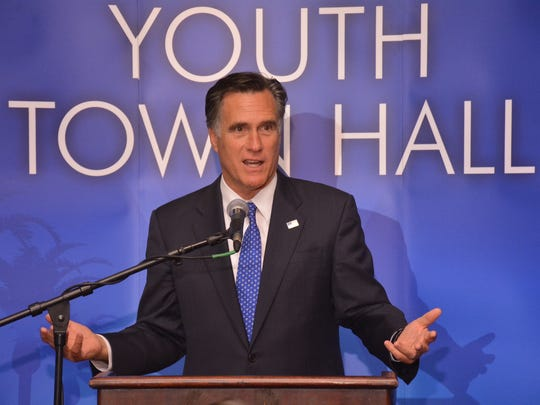 Mitt Romney speaks at the Indian Wells' Desert Town Hall in 2015.