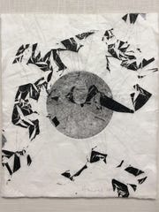 "Emilie Houssart's monoprint ""Growth"" on Japanese paper is included in the exhibit."