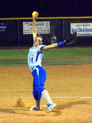 Carlsbad's Teddi Garcia fires a pitch late in Friday's 6A state tournament opener against Rio Rancho.
