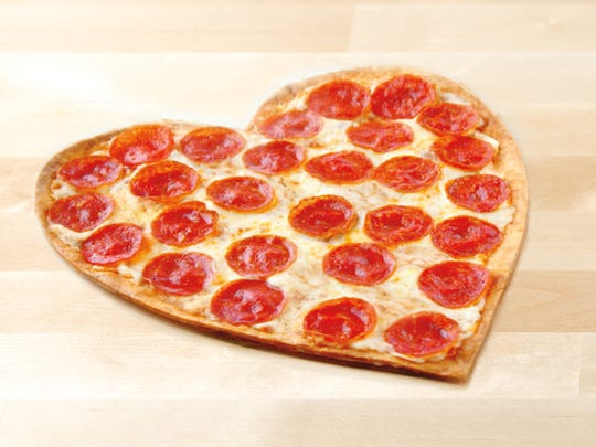Papa Johns heart-shaped pizzas are available on Valentine's Day.