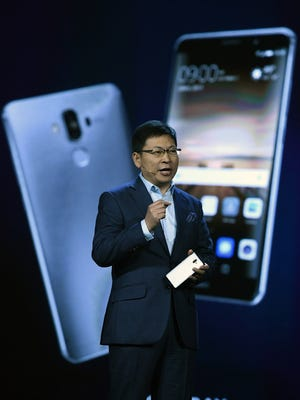 CEO of Huawei Consumer Business Group Richard Yu introduces the Huawei Mate 9 phone as he delivers a keynote address at CES 2017. Yu is one of the speakers, all men, who will be giving keynote addresses at CES 2018.
