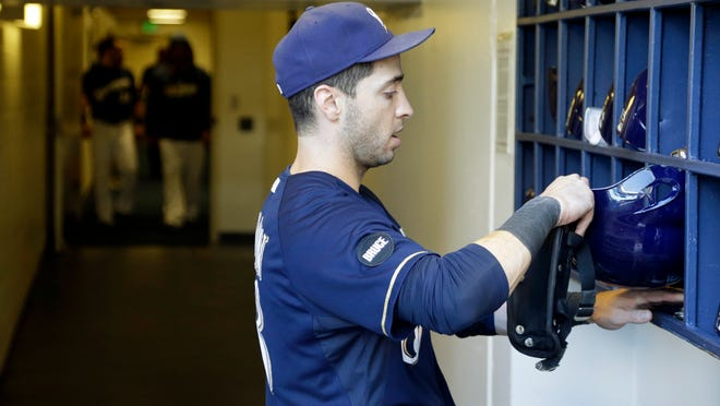 Milwaukee Brewers' Ryan Braun before Sunday's season finale against the Chicago Cubs in Milwaukee.