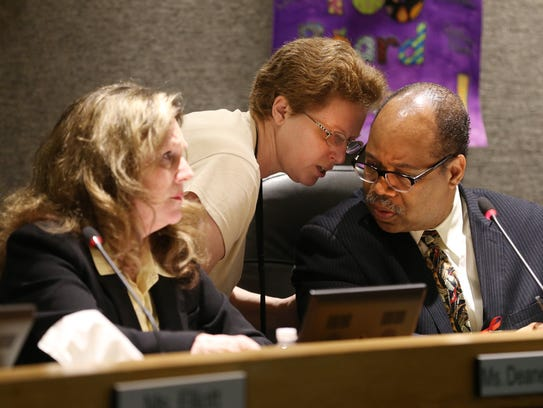 RCSD Board Vice President Willa Powell speaks to Van