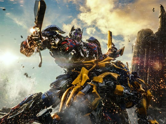 Autobot pals Optimus Prime and Bumblebee tussle in 'Transformers: The Last Knight,' but we're not sure about everything else that's happening in this movie.