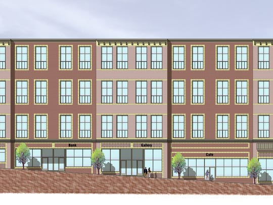 This architect's rendering shows the proposed facade of the Queen City Lofts project, which is planned for  178-182 Main Street in the City of Poughkeepsie.
