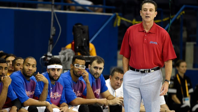 Puerto Rico head coach Rick Pitino on the sidelines against Argentina in the men's basketball 5th-6th place game at the 2015 Pan Am Games.