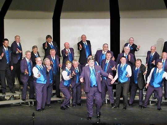 The Clipper City Chordsmen on stage at district competition in Stevens Point May 6.