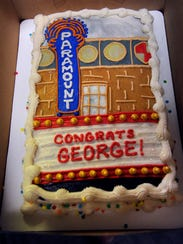 Coworkers at KTXS-TV bought a special cake for longtime anchor George Levesque whose last day at the station was Thursday. He is starting a new job at the Paramount Theatre Friday.