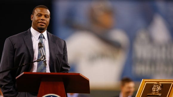 Ken Griffey Jr. was honored by the Mariners last August.