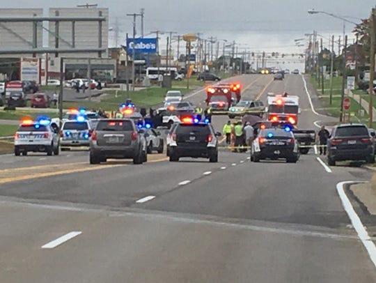 A two-car crash on West Fourth Street near the Ohio