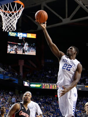 Kentucky forward Alex Poythress goes to the basket in the second half. Poythress scored 15 points in the team's win over Georgetown, 121-52.The University of Kentucky Men's Basketball team hosted Georgetown College, Sunday, Nov. 09, 2014 at Rupp Arena in Lexington. Photo by Jonathan Palmer, Special to the CJ