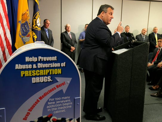 Governor Chris Christie speaks during a National Prescription