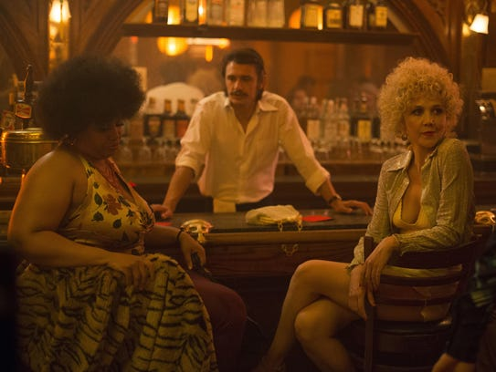 Pernell Walker (from left), James Franco and Maggie
