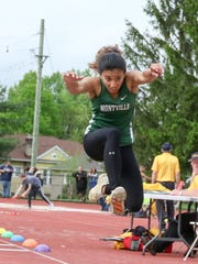 Montville senior Alicia Gupte competes in the triple jump during the Morris County Track and Field Championships at Boonton High School on May 17, 2018.