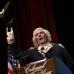 Ron Carnegie, portraying George Washington, takes the stage Aug. 3 in Colonial Williamsburg to announce he is hitting the 2016 presidential campaign trail this month in Iowa and New Hampshire. Instead of joining the army of candidates already seeking the nation's highest office, he'll implore Americans to get involved in the election.