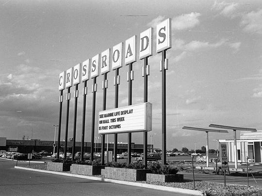 The original sign marking Crossroads Center when it opened in 1966. Construction of the mall started 50 years ago.