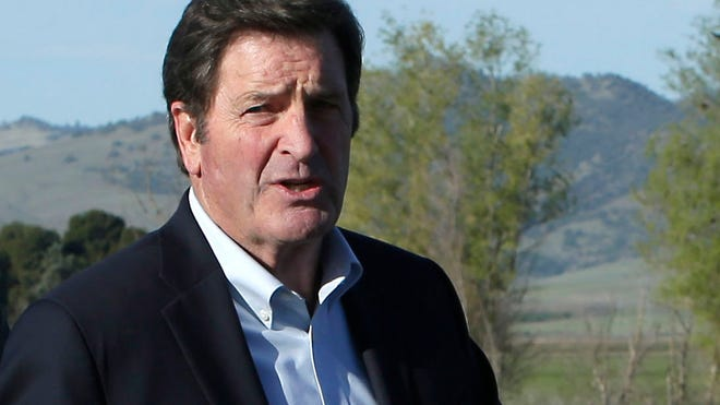 In this photo taken Wednesday March 19, 2014, Democratic Rep. John Garamendi, discusses legislation he and Republican Rep. Doug LaMalfa, left, are proposing to study the cost of building a reservoir in the Sites Valley, during a news conference near Maxwell, Calif.  California's drought has sparked a new push by federal lawmakers to create or expand a handful of reservoirs around the state.(AP Photo/Rich Pedroncelli) ORG XMIT: SC101