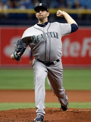 Seattle Mariners starting pitcher James Paxton delivers to the Tampa Bay Rays during the first inning of a baseball game Sunday, June 10, 2018, in St. Petersburg, Fla. (AP Photo/Chris O'Meara)