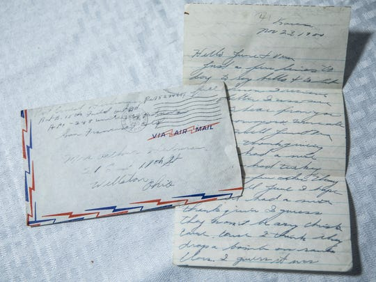 One of the many hand-written letters written by U.S.