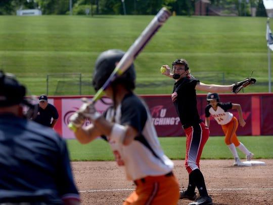 Cardington freshman Casey Bertke pitches against Wheelersburg