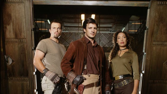 "Adam Baldwin, Nathan Fillion and Gina Torres star in ""Firefly."""