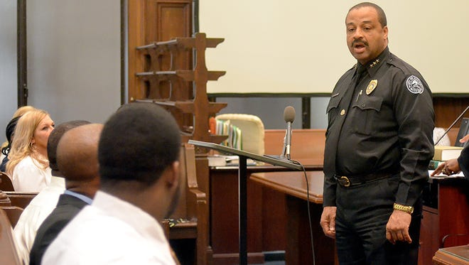 Jackson Police Department Assistant chief Lee Vance speaks to drug court graduates during the graduation ceremony at the Hinds County Courthouse in Jackson.
