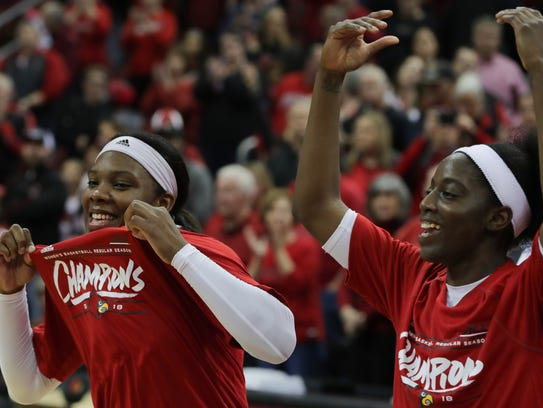 Louisville Myisha Hines-Allen and Jazmine Jones celebrate