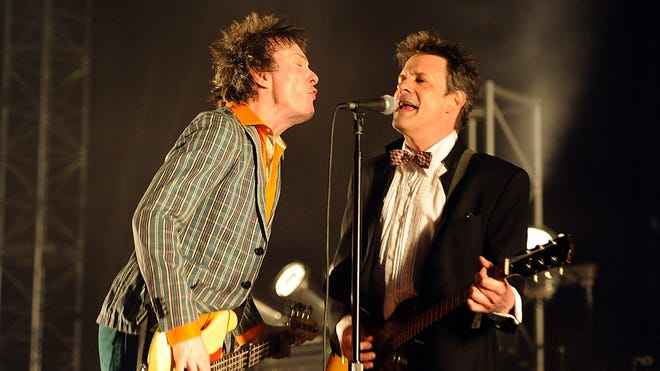 Tommy Stinson (left) and Paul Westerberg of The Replacements performing at the 2014 Coachella Music And Arts Festival.