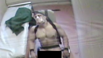 Monmouth County Jail guards surrounded Amit Bornstein, stripped him and appeared to struggle with him, as seen in a surveillance video.