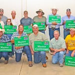 Graduates of the Louisiana Master Cattleman program were recognized Thursday (Oct. 8), during a field day at the LSU AgCenter Dean Lee Research Station. Pictured are, from left, kneeling, Glen Rideau, Joe Doucet, Chris Douget, Tom Ardoin, AgCenter Central Regional Director Boyd Padgett, Scott Aymond, Danny Miller, Dwayne Landreneau; standing, LSU AgCenter Beef Program Coordinator Vince Deshotel, Randy Beauboeuf, interim director of the AgCenter School of Animal Sciences Christine Navarre, Carol Bliss, Klaire Fontenot, Wesley Coffman, Russell Miller, Terry Latiolais, David Morris, Terry Ardoin and Robert Duncan. Not shown are Michael Fontenot, Shane Freeman, Tara Freeman, Ted Freeman and Jay Guidry.
