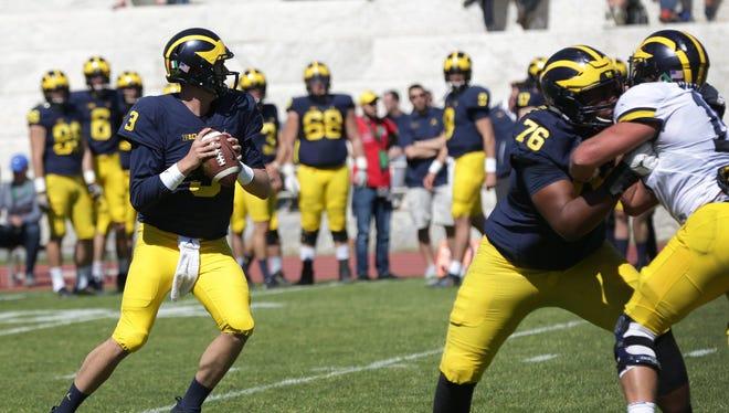 Michigan quarterback Wilton Speight during the Wolverines last practice at Stadio dei Marmi in Rome on Saturday, April 29, 2017.