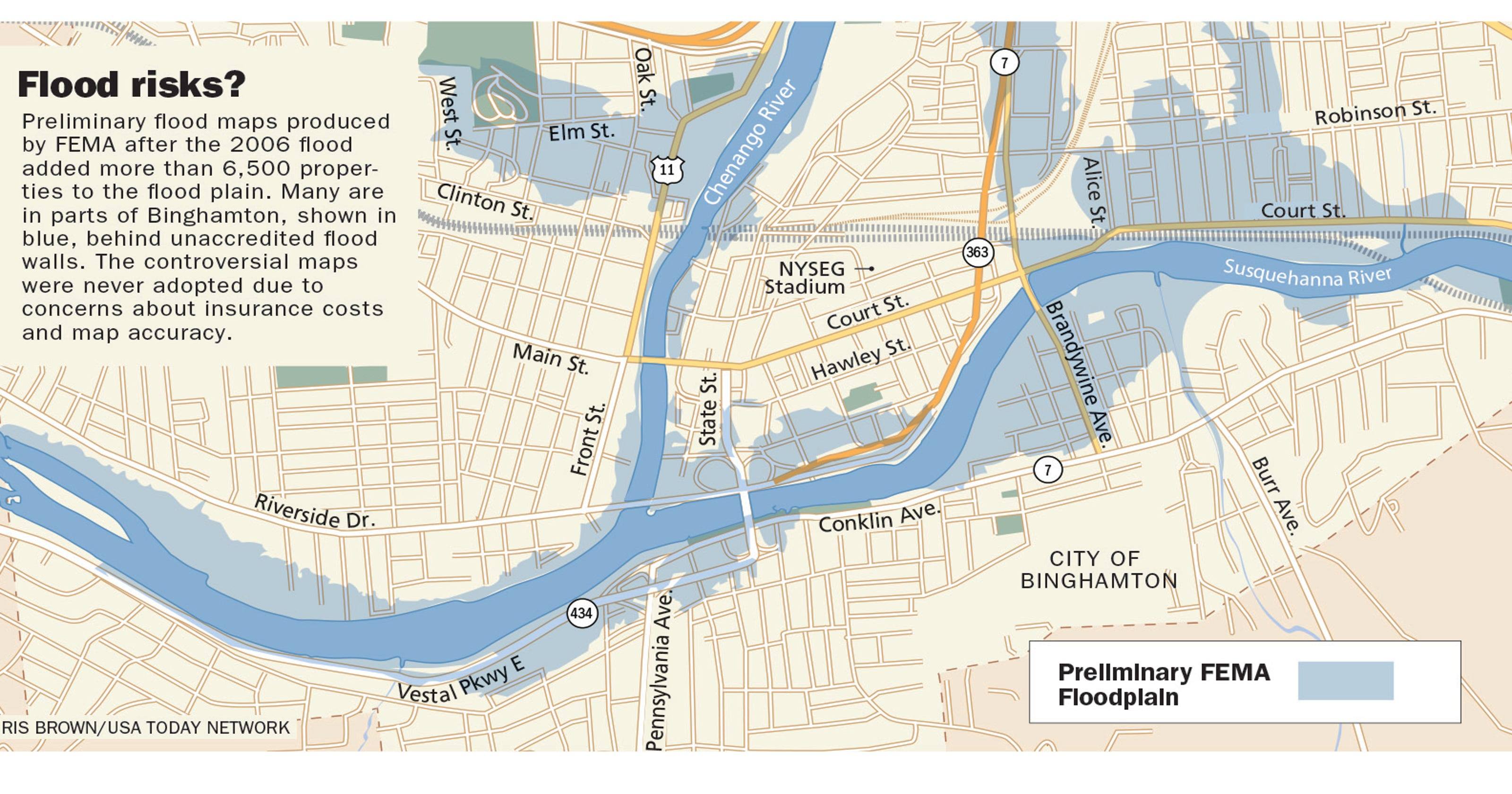 Binghamton flood maps, flood wall and levees may be inadequate