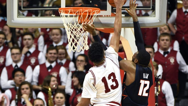 Indiana Hoosiers forward Juwan Morgan (13) blocks a shot attempt from Illinois Fighting Illini forward Leron Black (12) during the game against Illinois at Simon Skjodt Assembly Hall in Bloomington, Ind., on Wednesday, Feb. 14, 2018.