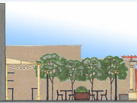 This conceptual drawing shows an outdoor dining area that could be created near the Majestic Theatre.