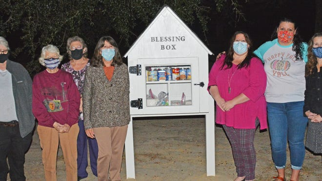 The ladies of Ashleigh Baptist Church have installed and will maintain a new Blessing Box in front of the church. Pictured from right to left: Beth Still, Elloree Ussery, JoAnn Hair, Linda Pickering, Millicent Moore, Jamie Campbell and Anne Wilburn.
