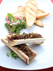 The roasted bone marrow with lamb bacon appetizer from the Local.