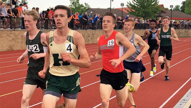 Howell's David Mitter (4) and Pinckney's Ryan Talbott (19) are among the five finalists for boys' track and field athlete of the year in Livingston County.
