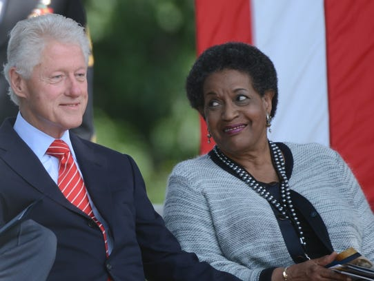 Former president Bill Clinton with Myrlie Evers-Williams