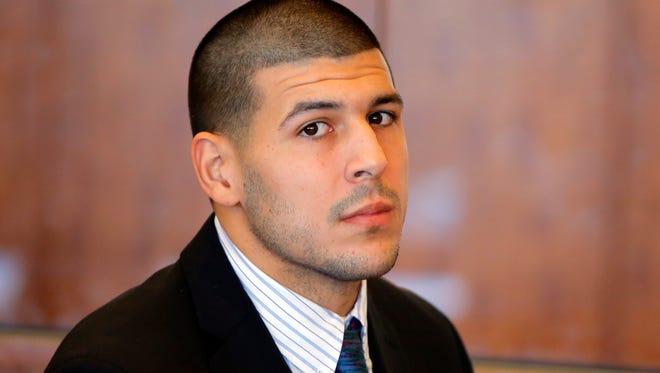 Aaron Hernandez in October of 2013
