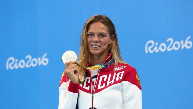 Yulia Efimova with her silver medal after the 100 breakstroke.