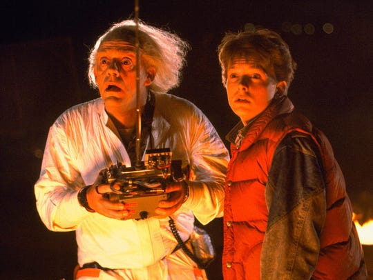 """Back to the Future"" plays at the University of Providence's drive-in movie night Friday, April 13."